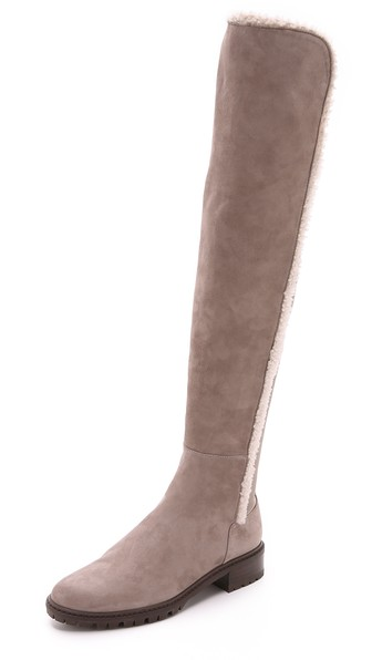 Stuart Weitzman Parka Over the Knee Boots in Topo with Shearling Trim