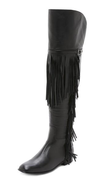 Sigerson Morrison Effie Fringe Over the Knee Boots in Black