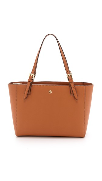 Tory Burch York Small Buckle Tote Bag in Luggage