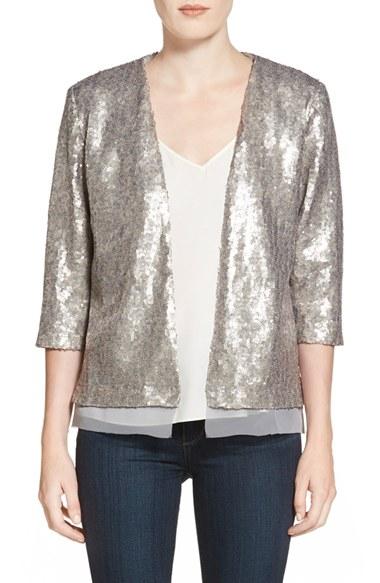 Chelsea28 Sequin Jacket in Silver