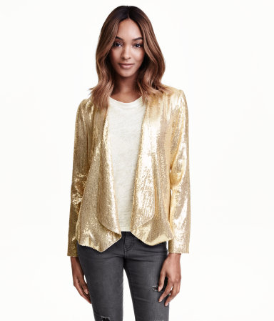 H&M Sequined Jacket in Gold