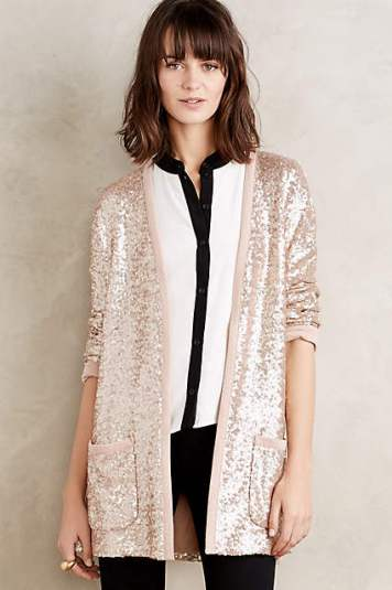 Sequin Shimmer Cardigan by Plenty by Tracy Reese in Gold