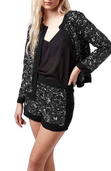 Topshop Boxy Sequin Jacket in Charcoal Multi