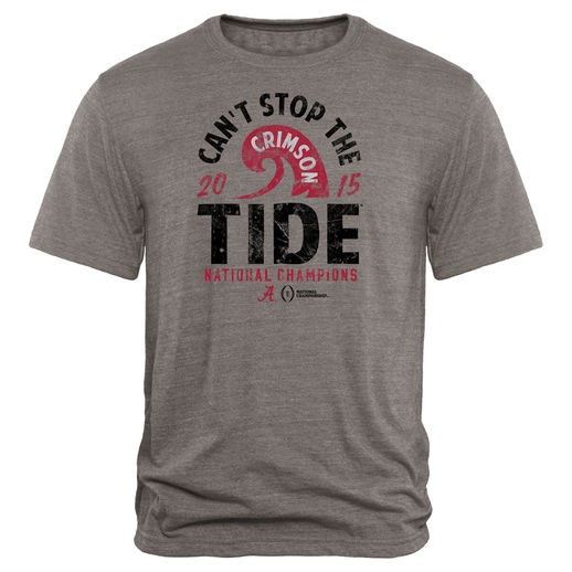 ALABAMA CRIMSON TIDE HEATHER GRAY COLLEGE FOOTBALL PLAYOFF 2015 NATIONAL CHAMPIONS RUNNING BACK TRI-BLEND T-SHIRT