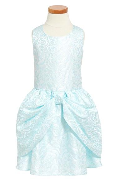 Dorissa 'Dana' Sleeveless Jacquard Dress (Toddler Girls & Little Girls) in Aqua