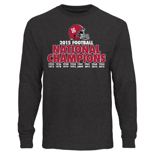 ORIGINAL RETRO BRAND ALABAMA CRIMSON TIDE HEATHER BLACK COLLEGE FOOTBALL PLAYOFF 2015 NATIONAL CHAMPIONS 16-TIME CHAMPIONS LONG SLEEVE T-SHIRT