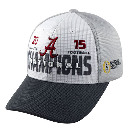 TOP OF THE WORLD ALABAMA CRIMSON TIDE WHITE/GRAY COLLEGE FOOTBALL PLAYOFF 2015 NATIONAL CHAMPIONS ADJUSTABLE HAT