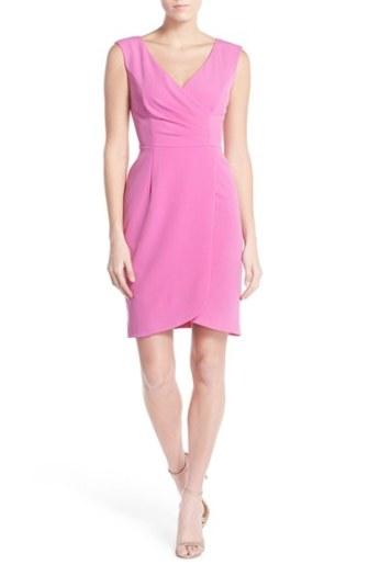 Adrianna Papell Matte Jersey Faux Wrap Dress Raspberry