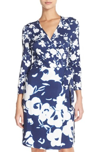 Charles Henry Floral Jersey Wrap Dress Navy Floral