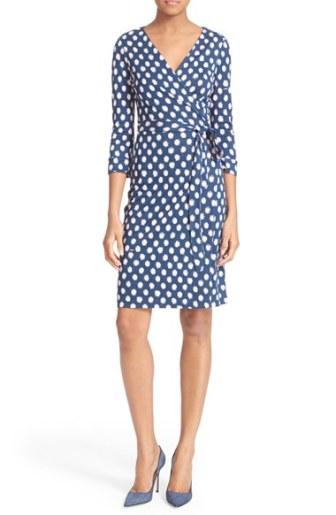 Diane von Furstenberg 'New Julian Two' Polka Dot Silk Wrap Dress (Nordstrom Exclusive) Dotted Batik Indigo