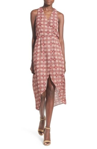 Painted Threads Print Surplice Dress Coral