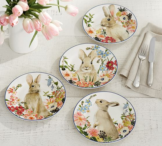 Pottery Barn FLORAL BUNNY SALAD PLATE, MIXED SET OF 4