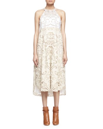 Chloe Embroidered Linen/Cotton Lace-Contrast Halter Dress Milk trapeze dresses for easter