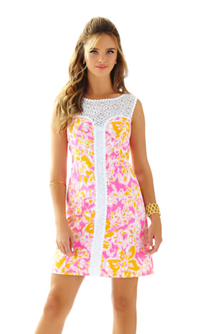 Lilly Pulitzer SOFIA LACE SHIFT DRESS Kir Royal Pink Ooh La La