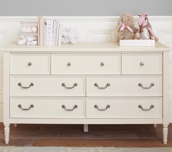Monique Lhuillier Blythe Extra-Wide Dresser Vintage Simply White Pottery Barn Kids