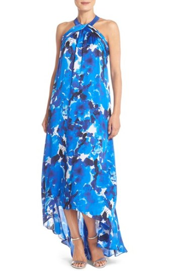 Theia Floral Print Silk Trapeze Gown Royal Blue trapeze dresses for easter