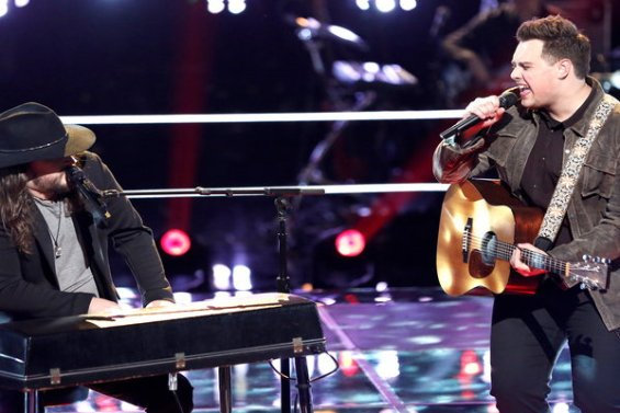 """Watch Adam Wakefield and Jared Harder of Team Blake battle it out with Marshall Tucker Band's classic rock song """"Can't You See"""" on Monday, March 21, 2016."""