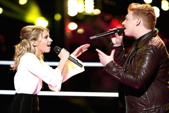 """Watch The Voice Season 10 Episode 8 The Battles Night 3: See Team Adam Levine's Caroline Burns vs. Mike Schiavo of New Jersey battle it out with """"Like I'm Gonna Lose You"""" on Monday, March 21st."""