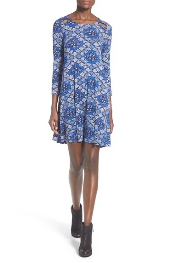 dee elle Cutout Bandana Print Swing Dress Blue Multi