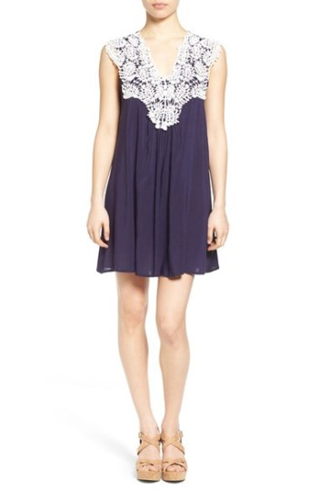jella c. Crochet Trim Dress Navy Ivory trapeze dresses for easter