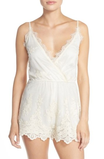 Band of Gypsies Embroidered Mesh Romper Ivory
