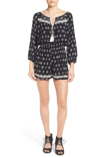 Band of Gypsies Embroidered Romper Black/White coachella spring music festival embroidered rompers