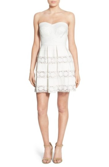 Bee Darlin Strapless Lace Fit & Flare Dress Cream