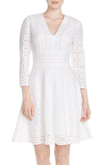 Eliza J Lace Fit & Flare Dress (Regular & Petite) Ivory fit and flare dresses for kentucky derby
