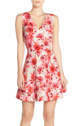 FELICITY & COCO Back Cutout Fit & Flare Dress (Regular & Petite)(Nordstrom Exclusive) Tropical Border fit and flare dresses kentucky derby
