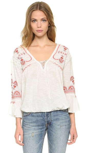 Free People Chiquita Embroidered Top Ivory Combo Shopbop friends and family sale