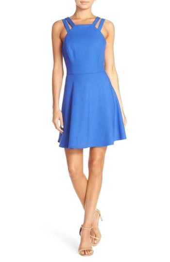 French Connection 'Whisper Light' Double Strap Fit & Flare Dress Empire Blue
