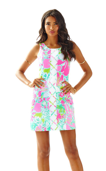 Lilly Pulitzer CATHY SHIFT DRESS Flamingo Pink Dont Give A Cluck
