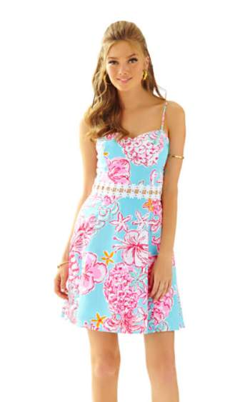 Lilly Pulitzer LENORE LACE CUT-OUT SUNDRESS - SUNGLOW Breakwater Blue Lolita With Sunglow