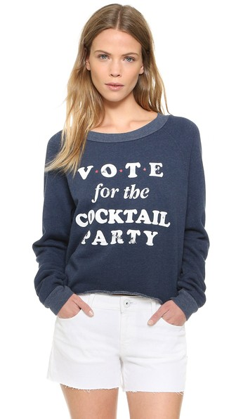 Wildfox Vote Cocktail Party Cropped Sweatshirt After Midnight Blue Shopbop friends and family sale
