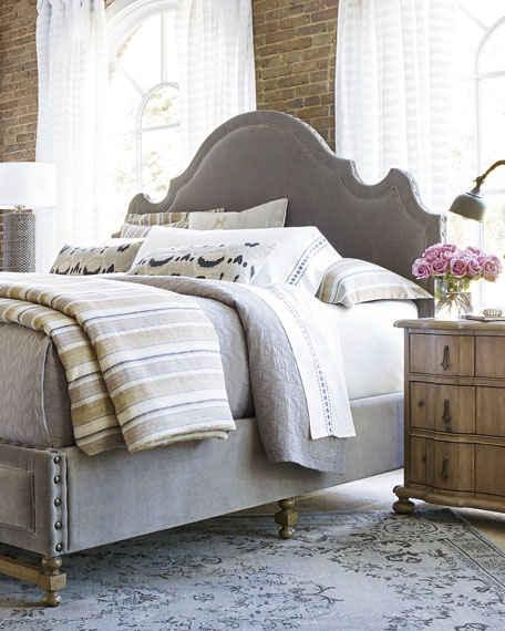 Aimee Velvet Upholstered King Bed Khaki Horchow friends and family sale