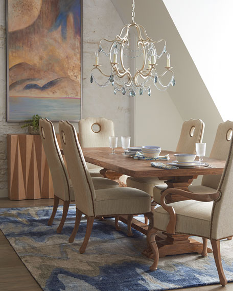 Ambella Heatley Pedestal Table Wood Horchow Friends and Family Sale