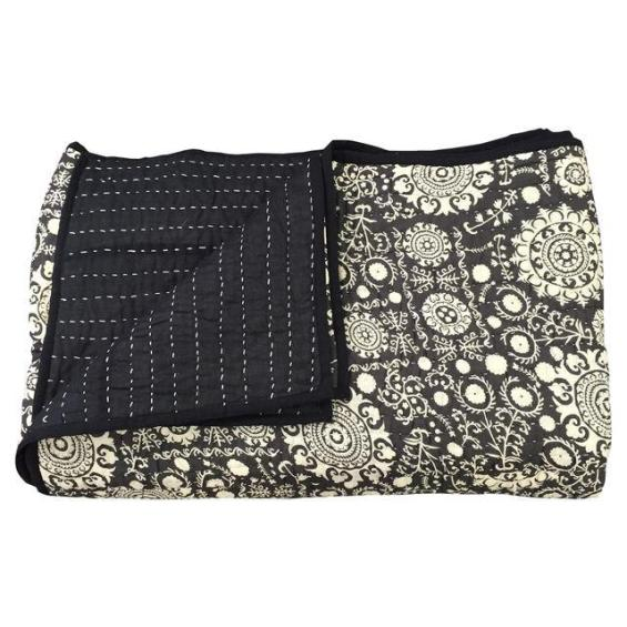 Black & White Indian Cotton Quilt Chairish this is emily & meritt collection for chairish