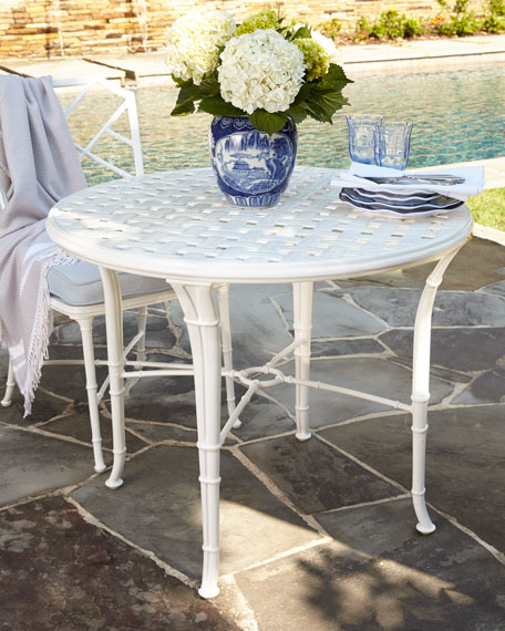 Brown Jordan Calcutta Outdoor Faux Bamboo Bistro Table White Horchow Friends and Family Sale