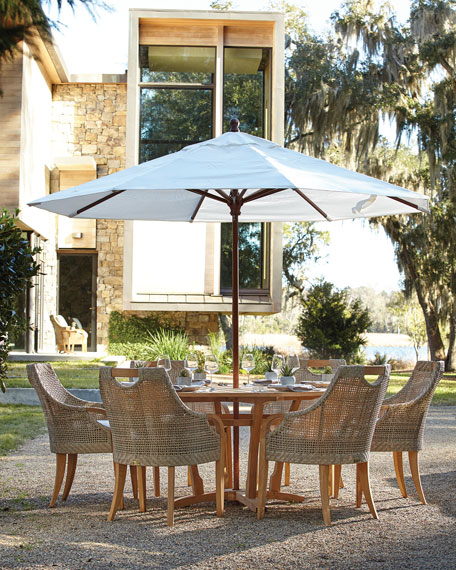 Edgewood Round Outdoor Dining Table Teak Horchow Friends and Family Sale