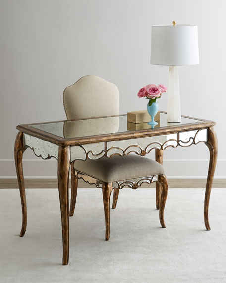Hooker Furniture Briganti Mirrored Writing Desk Gold Mirror Horchow friends and family sale