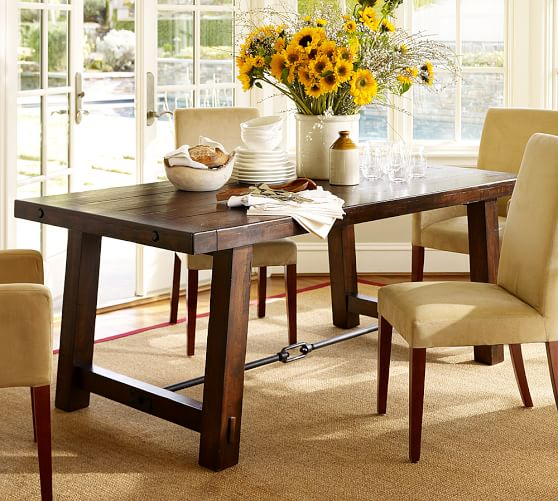 Pottery Barn BENCHWRIGHT FIXED DINING TABLE Rustic Mahogany Stain pottery barn dining furniture sale