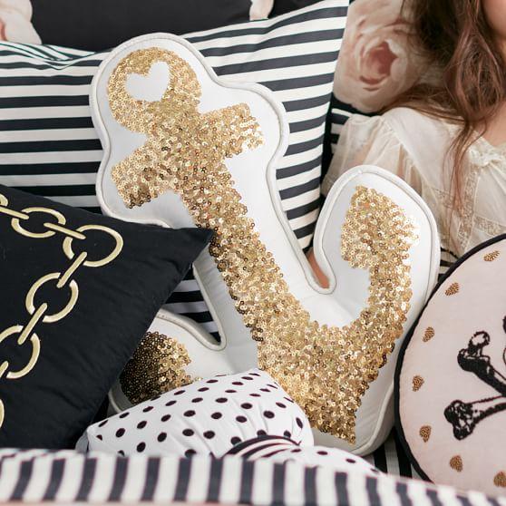 The Emily & Meritt Gold Anchor Pillow Pottery Barn Teen emily & current for pottery barn teen collection