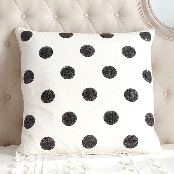 The Emily & Meritt Sequin Dot Euro Pillow Cover Pottery Barn Teen Collection