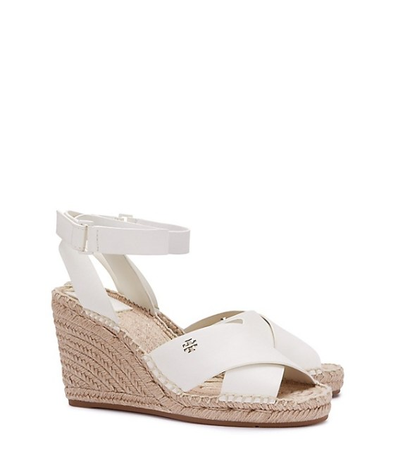candace rose Tory Burch BIMA WEDGE ESPADRILLE SANDAL Ivory tory burch private sale candie anderson
