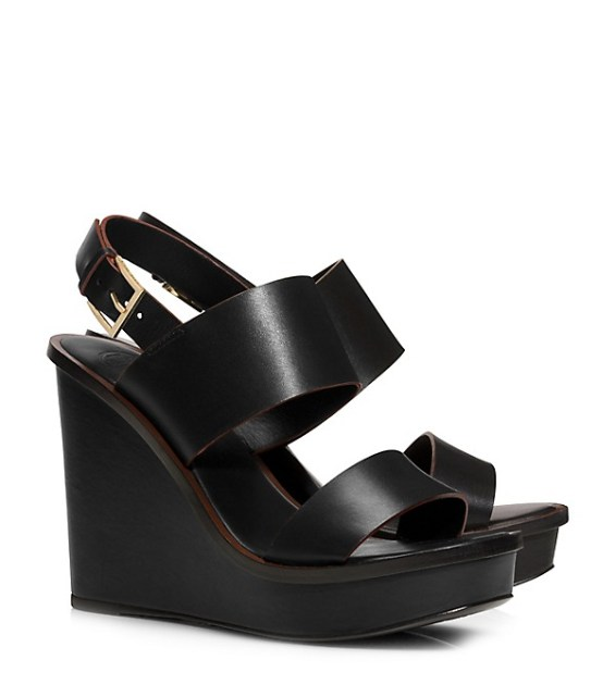 candace rose Tory Burch LEXINGTON WEDGE SANDALS Black  tory burch private sale candie anderson