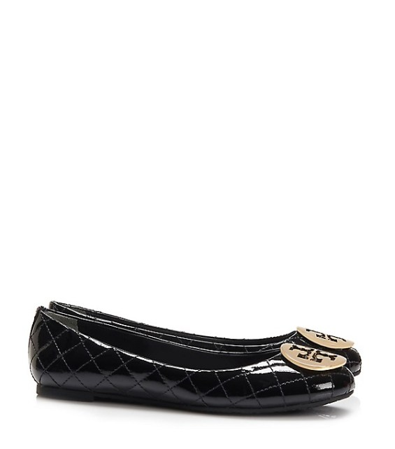 candace rose Tory Burch QUINN QUILTED FLAT Black Gold tory burch private sale candie anderson