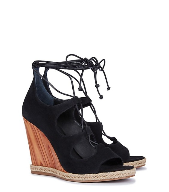 candace rose Tory Burch RAYA LACE-UP WEDGE SANDALS Black tory burch private sale candie anderson