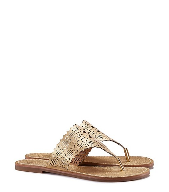 tory burch private sale Tory Burch ROSELLE METALLIC THONG SANDAL Gold candace rose