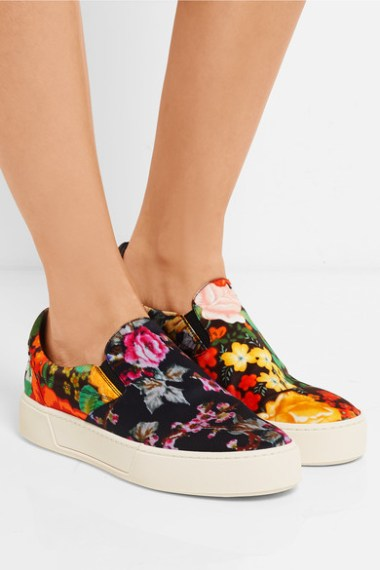 BALENCIAGA Floral-print satin slip-on sneakers