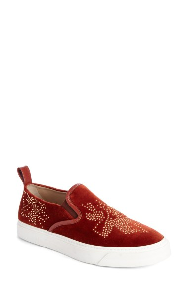 Chloé 'Ivy' Studded Slip-On Sneaker (Women) Burgundy Seude slip-on sneakers fall 2016